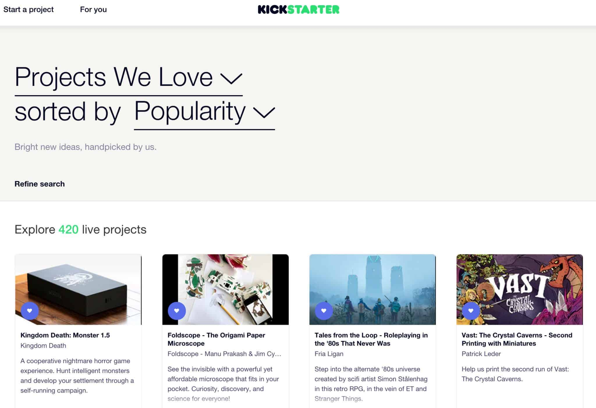 recommended projects on crowd funding site kickstarter