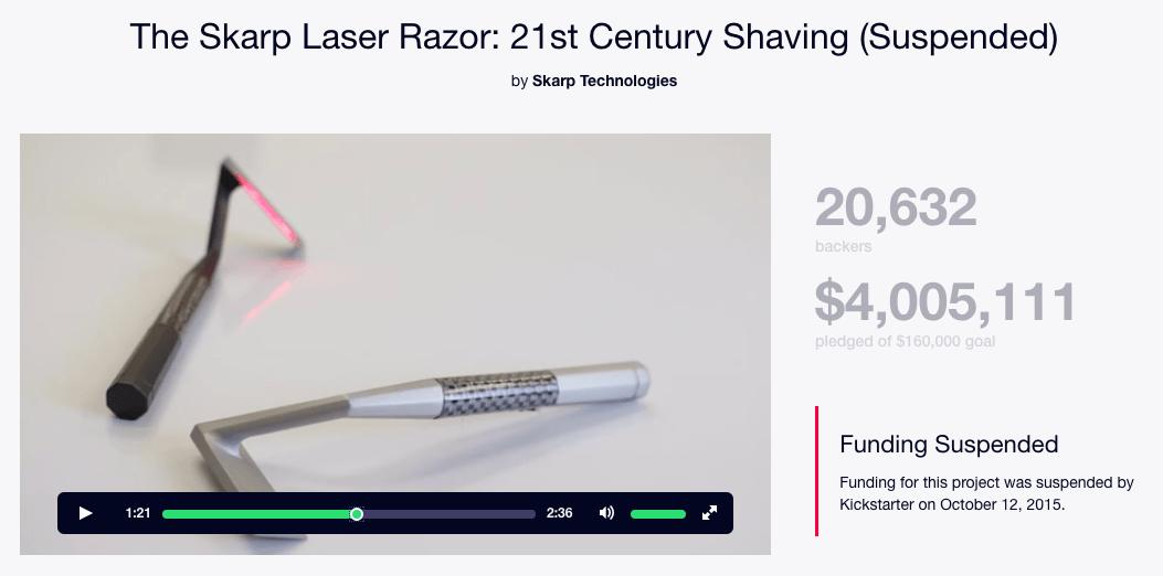 Skarp Laser Razor Kickstarter campaign
